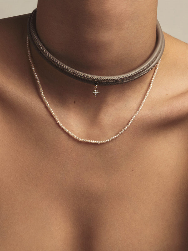 Small Diamond Star Taupe Leather Necklace T2A