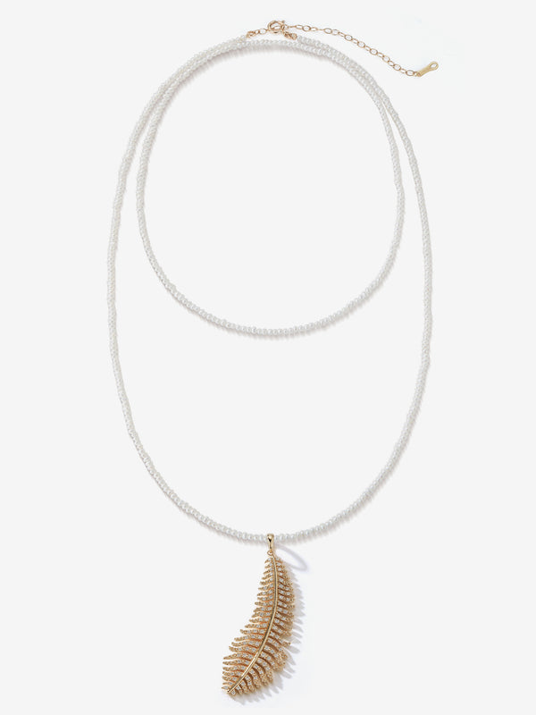 Long Dancing Pearl with Large Diamond Feather Necklace SBN245F
