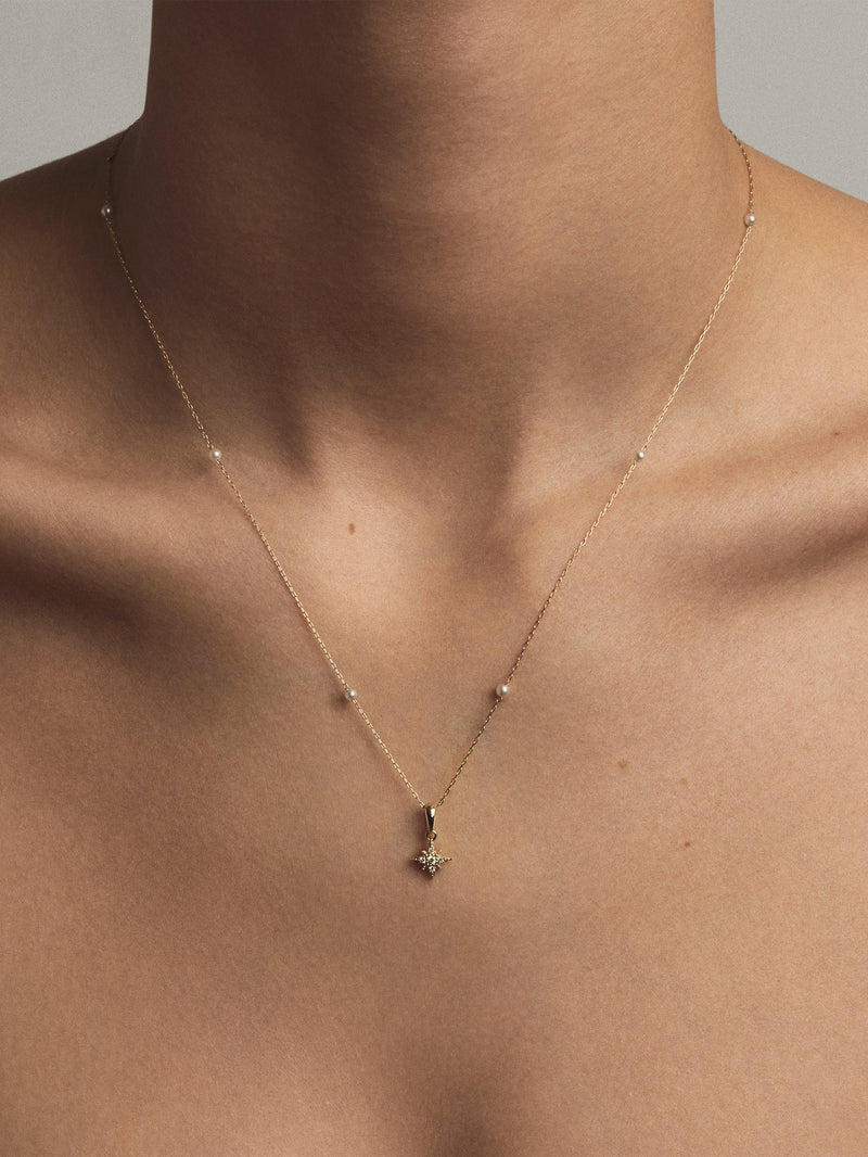 Floating Pearl Chain with Small Diamond Star Necklace SBN246A