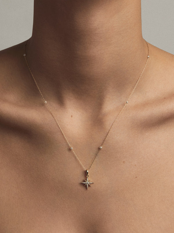 Floating Baby Pearl Chain with Medium Diamond Star Necklace SBN246B
