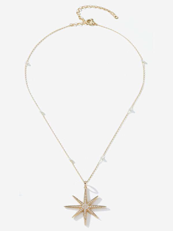 Floating Baby Pearl Chain with Large Diamond Star Necklace SBN246C
