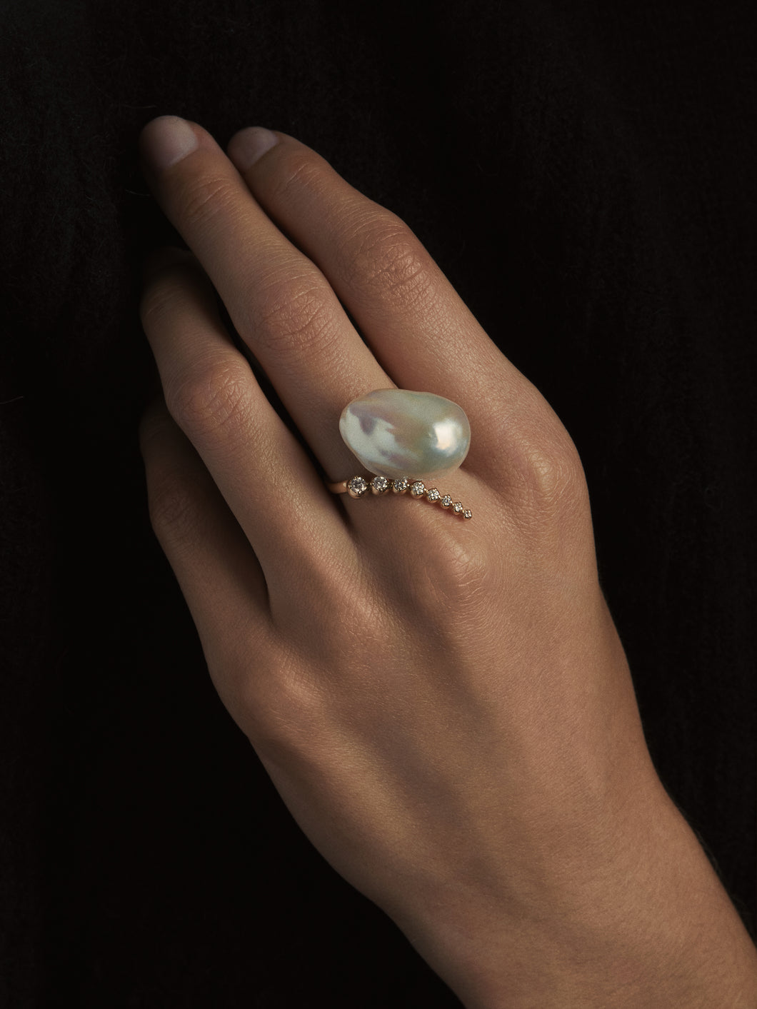 Sea of Beauty Collection.  Open Multi Diamond and Baroque White Pearl Ring  SBR42W