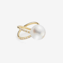 Sea of Beauty Collection.  Crossover Diamond and White Pearl Ring  SBR51WR