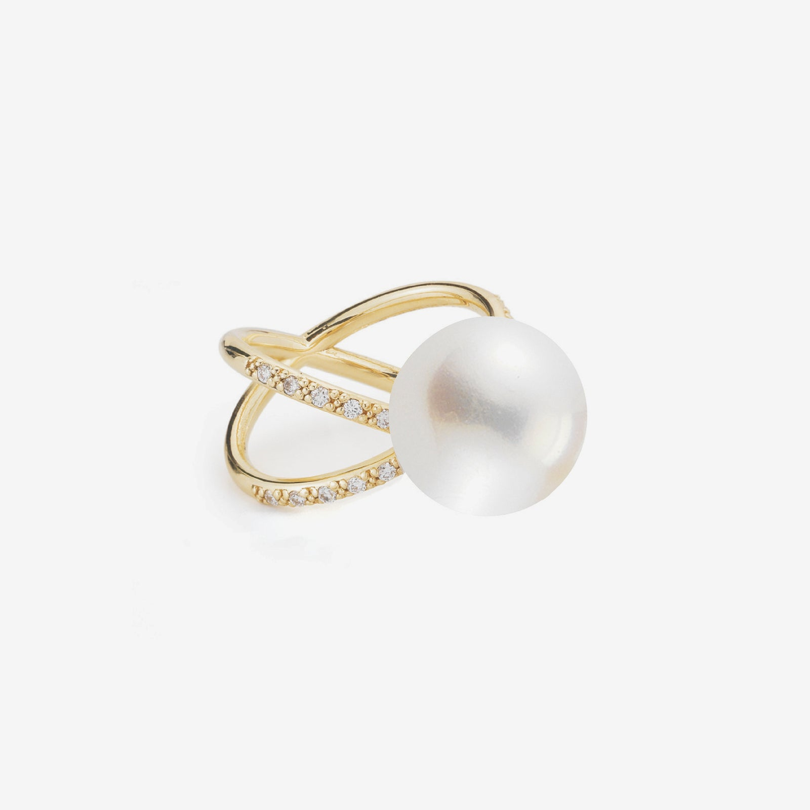 Sea of Beauty Collection.  Crossover Diamond and White Pearl Ring