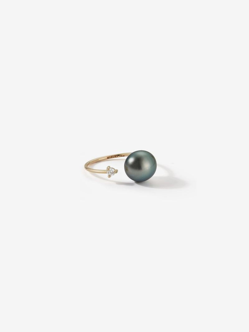 Sea of Beauty Collection.  Open Diamond and Black Pearl Ring SBR73B