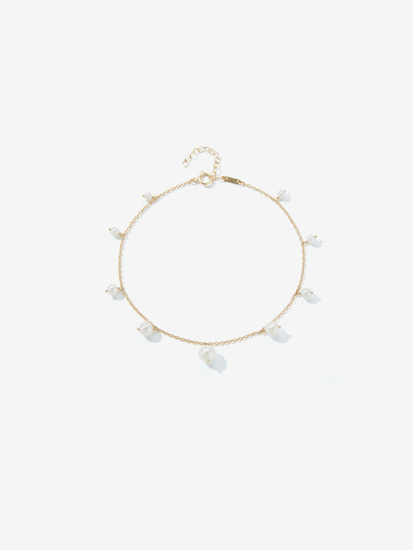 Spaced Graduated Pearl Fringe Anklet SBX5