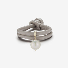 Leather Collection.  Taupe Leather Baroque White Pearl Bracelet