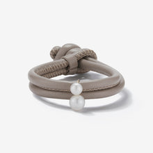 Leather Collection.  Taupe Leather Double White Pearl Bracelet