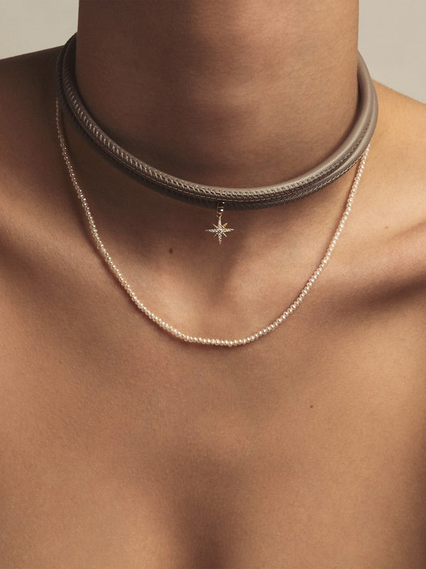 Medium Diamond Star Taupe Leather Necklace T2B