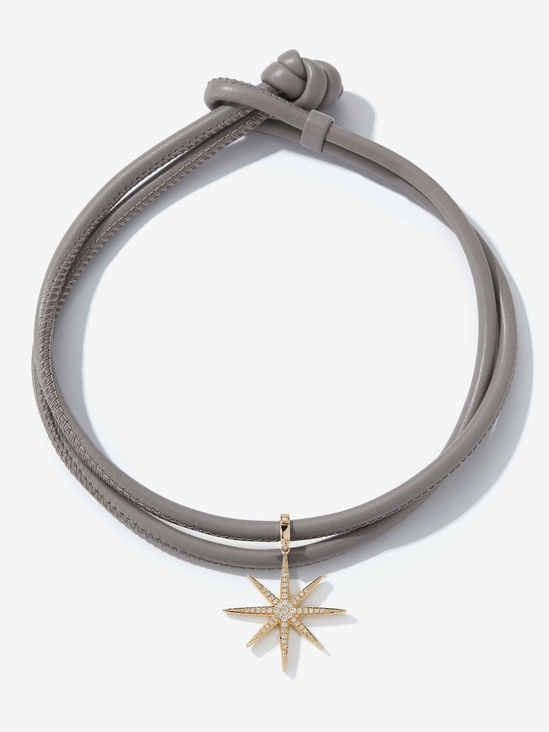 Large Diamond Star Taupe Leather Necklace T2C