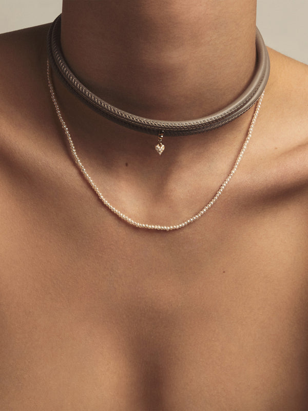 Small Diamond Heart Taupe Leather Necklace T2D