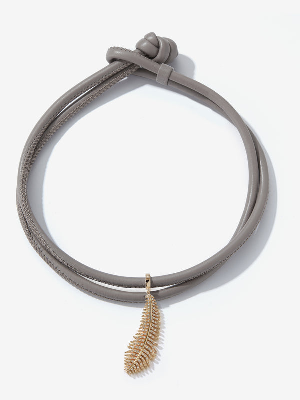 Large Diamond Feather Taupe Leather Necklace T2F