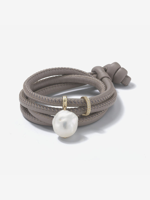Sea of Beauty Collection.  Taupe Leather Diamond Band and Baroque White Pearl Bracelet  T2Z1Z20