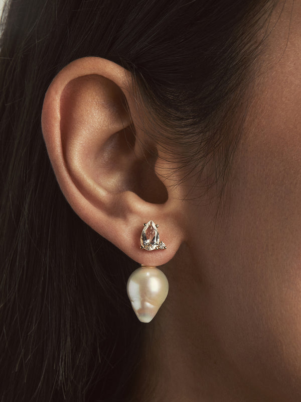 Sea of Beauty Collection.  Baroque Pearl, Diamond and White Topaz Horizon Earrings WT1