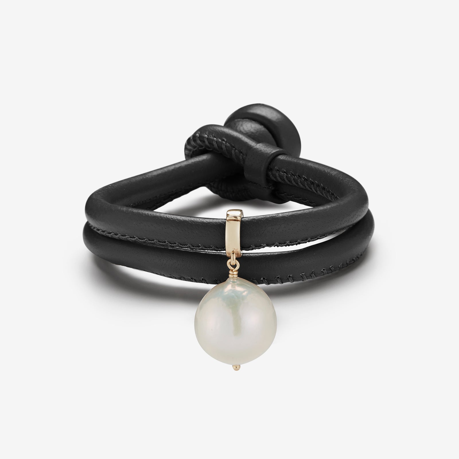 Leather Collection.  Black Leather Baroque White Pearl Bracelet
