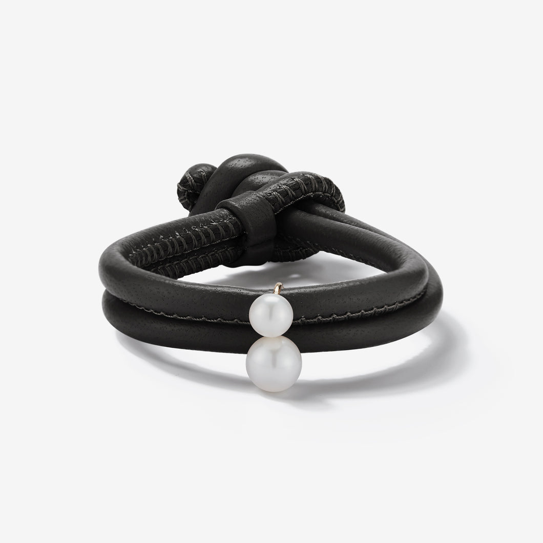 Sea of Beauty Collection.  Black Leather Double White Pearl Bracelet  X1Z73