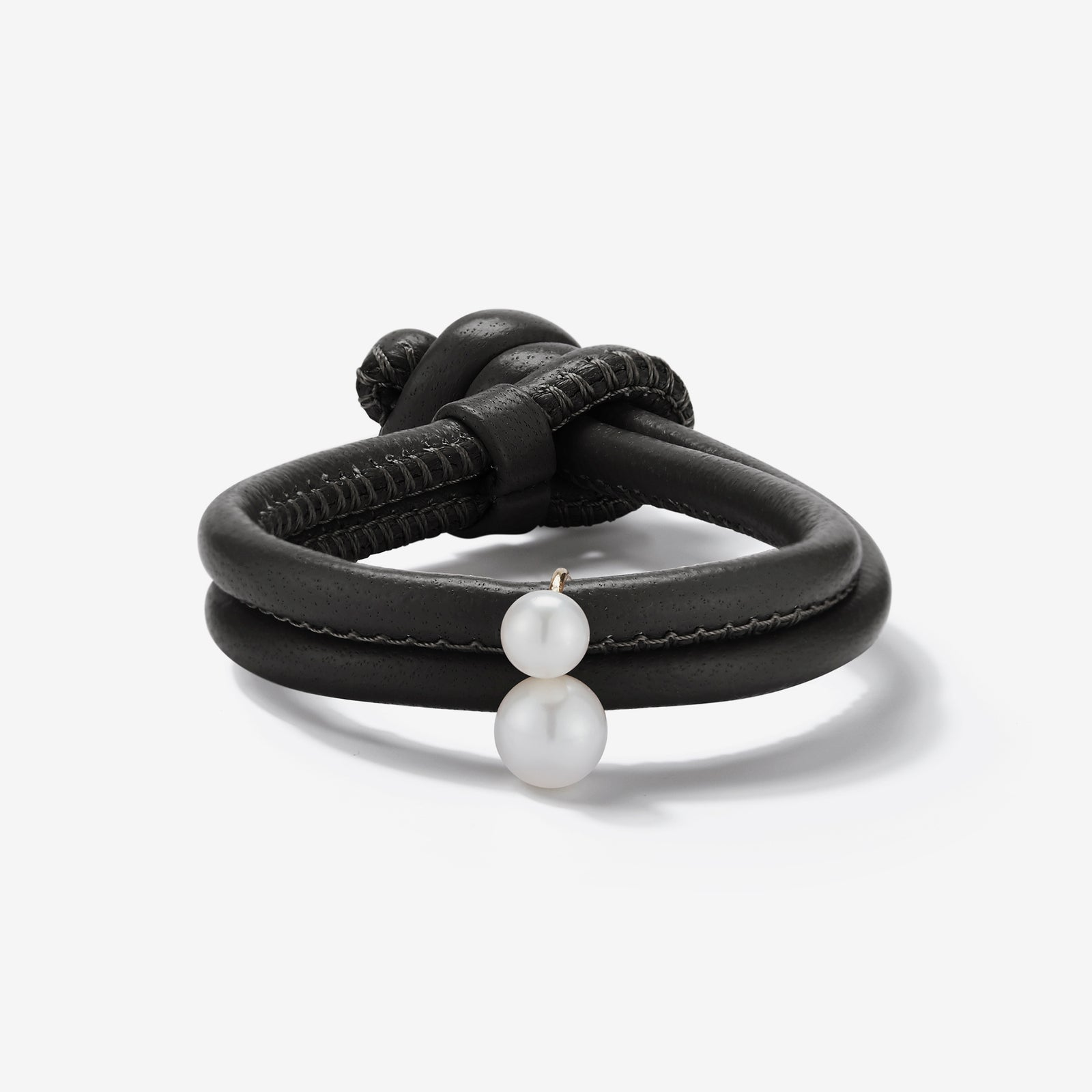Leather Collection.  Black Leather Double White Pearl Bracelet