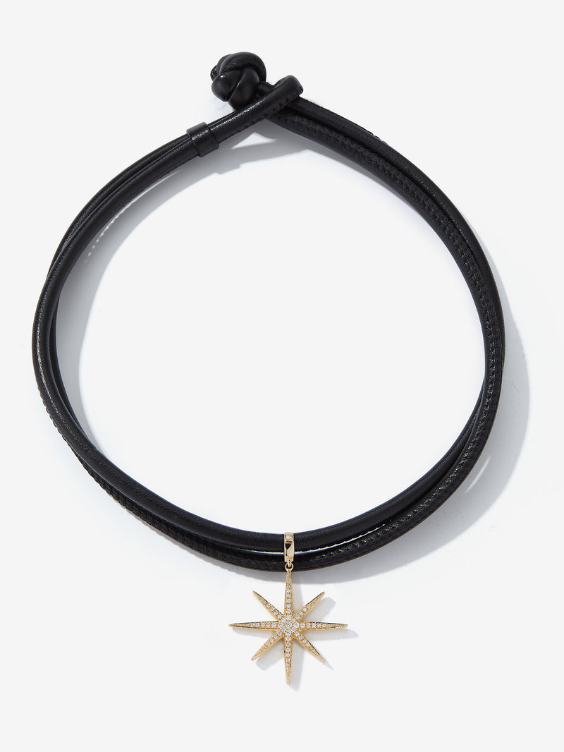 Large Diamond Star Black Leather Necklace X2C