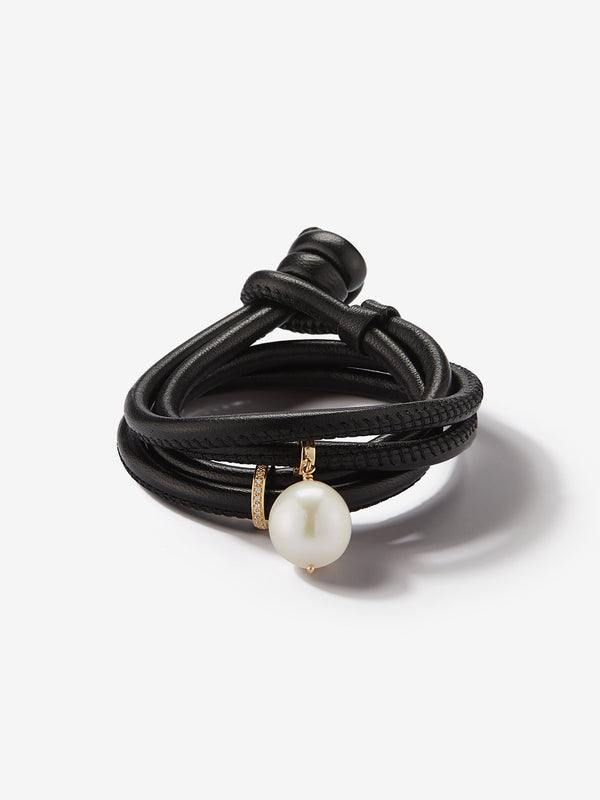 Sea of Beauty Collection.  Black Leather Diamond Band and Baroque White Pearl Bracelet  X2Z1Z20