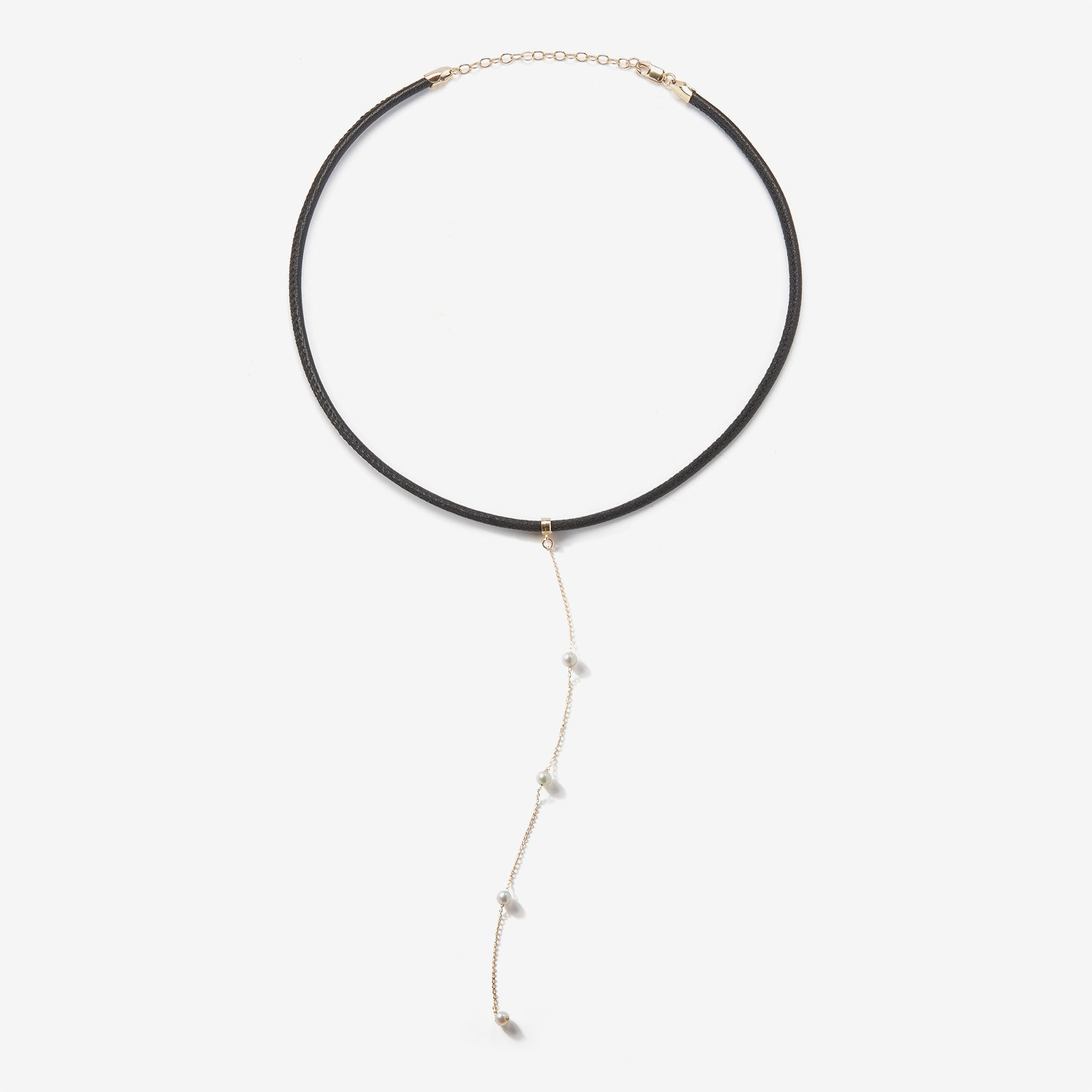 Leather Collection.  Thin Black Leather Spaced White Pearl Chain Necklace
