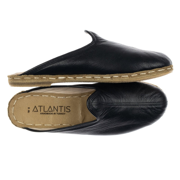 Black Slippers - Turkish Slippers for Women & Men : Atlantis Handmade Shoes