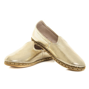 Gold - Turkish Slip-On Shoes for Women & Men : Atlantis Handmade Shoes