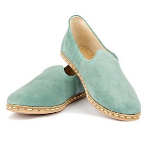 Green Suede - Turkish Slip-On Shoes for Women & Men : Atlantis Handmade Shoes