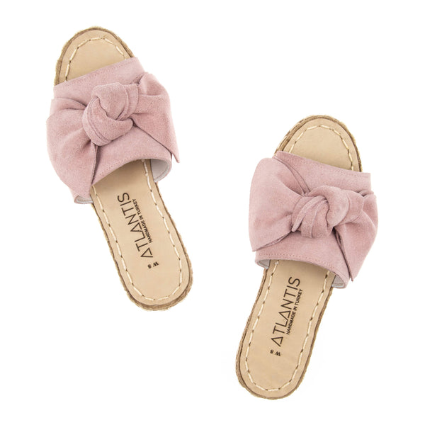 Powder Pink Bow - Turkish Sandals for Women & Men : Atlantis Handmade Shoes