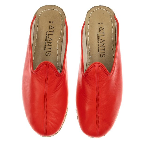 Red Slippers - Turkish Slippers for Women & Men : Atlantis Handmade Shoes