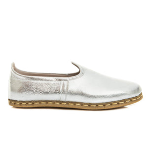 Silver - Turkish Slip-On Shoes for Women & Men : Atlantis Handmade Shoes