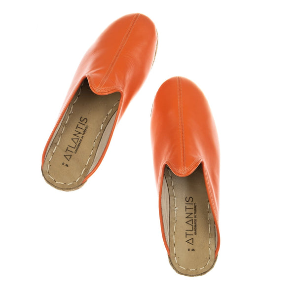 Orange Slippers - Turkish Slippers for Women & Men : Atlantis Handmade Shoes