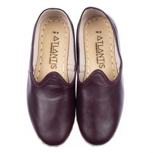 Burgundy - Turkish Slip-On Shoes for Women & Men : Atlantis Handmade Shoes