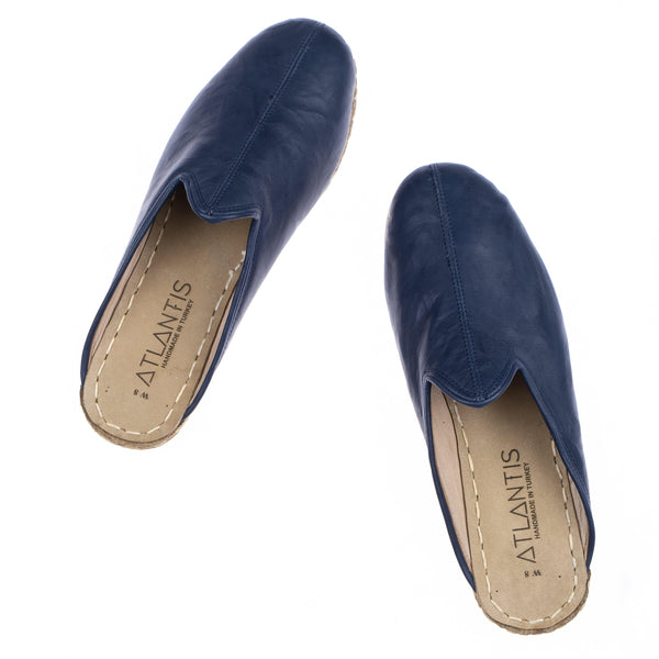 Navy Slippers - Turkish Slippers for Women & Men : Atlantis Handmade Shoes