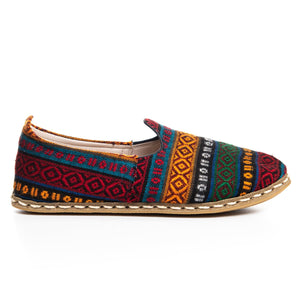 Burgundy Kilim - Turkish Slip-On Shoes for Women & Men : Atlantis Handmade Shoes