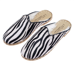 Zebra Shearlings - Turkish Slippers for Women & Men : Atlantis Handmade Shoes