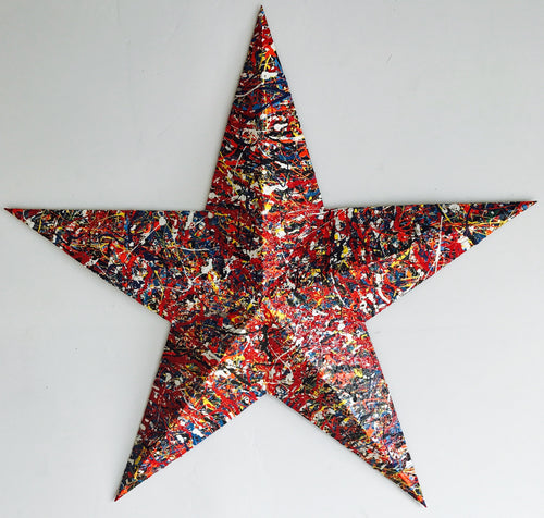 Medium Multi Color Steel Patriotic Star