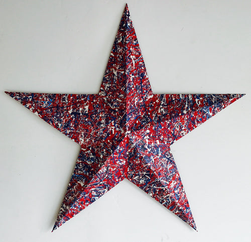 Medium Red, White & Blue Steel Patriotic Star