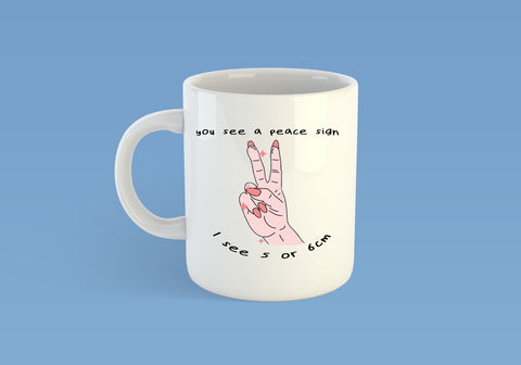 You see a peace sign midwife mug