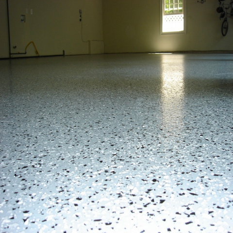 Garage Floor Epoxy - Broadcast with gray