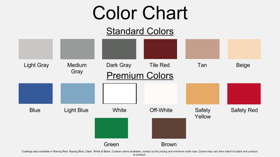 Premium Commercial/Industrial 2-Layer Coating Kit Color Chart