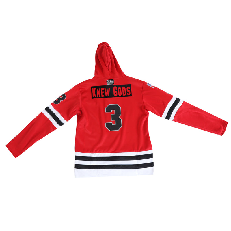 Pictured from the back, the Red Knuckle Puck Hockey Jersey Hoodie with Knew Gods above the 3.