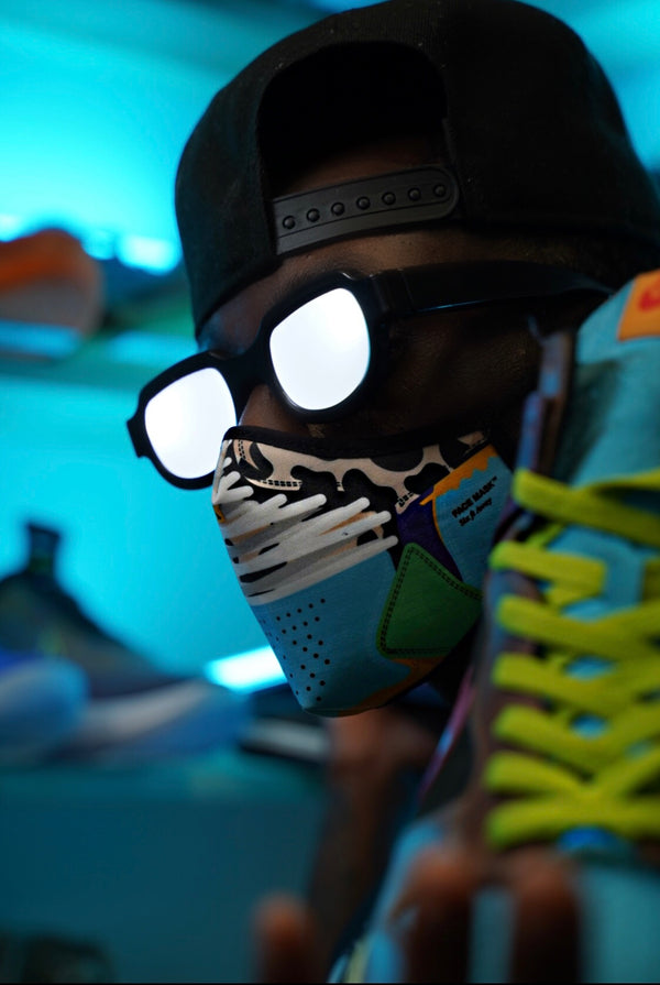 "Close up of the GoodKnews Ben and Jerry Face Mask inspired by the Nike SB Dunk Low ""Ben & Jerry's - Chunky Dunky""."