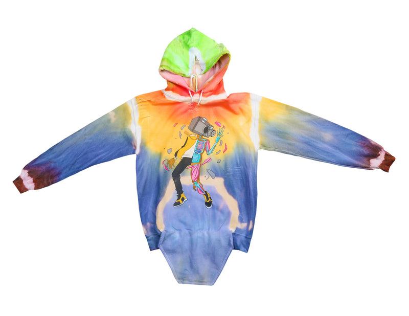 C.A.M. Broken Anatomy Hoodie- Colorful Distressed Hoodie **Made to Order**