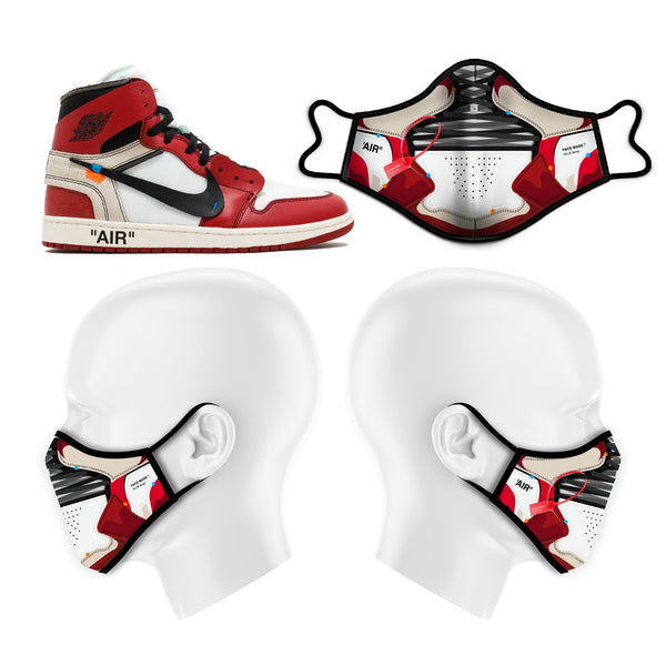 "GoodKnews OFF ""AIR"" Face Mask inspired by the OFF-WHITE X Air Jordan 1 Retro High OG 'OFF-WHITE'."