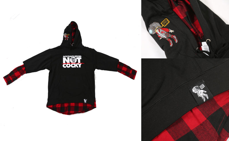 GoodKnews Presents: Accomplished Not Cocky Flannel-Hoodie Combo. Available in a black hoodie with C.A.M accents and Accomplished Not Cocky on the front, and a red and black flannel underneath.