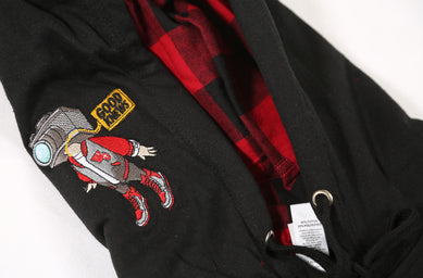 Hoodie details up close. GoodKnews Presents: Accomplished Not Cocky Flannel-Hoodie Combo. Available in a black hoodie with C.A.M accents and Accomplished Not Cocky on the front, and a red and black flannel underneath.