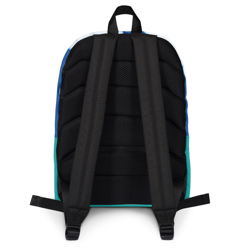 Pictured from the back. The Welcome to Springfield C.A.M Backpack. Black is mesh fabric.