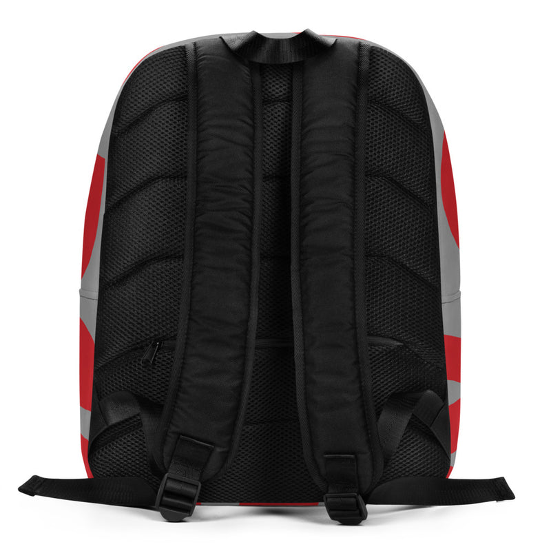 Pictured from the back: Many Men C.A.M Backpack. Back is black mesh fabric.