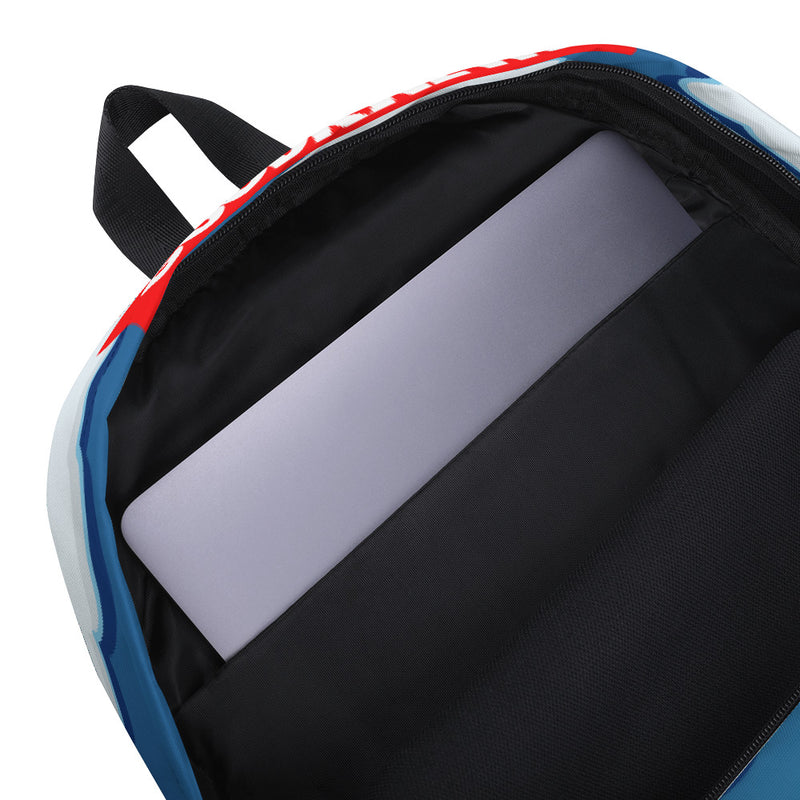 Picture of the inside laptop pocket. The Welcome to Springfield C.A.M Backpack.