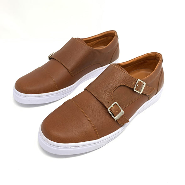 Cognac Double Monk Strap Sneakers